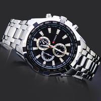 Black Face White Belt Sports Man Watches Gentle Men's Boy's Fashion Curren Analog Gifts Clock Hours Quartz Wrist Watches, 8023