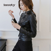 2014 new winter women's fashion locomotive simple small leather collar leather jacket Slim European and American fashion models