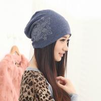 New 2014 female hat women Winter arrow pattern knit hat with diamond headgear tube piles cap girl hip-hop hats Dropshipping 3501