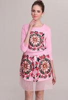 Free Shipping Autumn Winter 2014 Fashion Brand Long sleeve 2 piece Women dress Print elegant COTTON Dress pink Brand Cute Dress