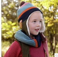 2PCS/LOT Free Shipping Winter Thermal Plus Fluff Mixed Color Children Warm Bomber Hats Only