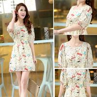 2014 Summer Korean cartoon graffiti round neck short sleeve dress chiffon skirt dress factory direct sub- 265,Free Shipping