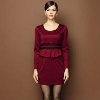 Dress Women New Autumn and Winter Dress 2014 OL Fashion Slim Long Sleeve Pleated Chiffon Print Lace Dress Lotus Leaf Wrinkle Top