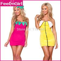 2014 New Fashion Funny Christmas Sexy Strawberry Banana Halloween Fruit Costume Fruit Party Fancy Dress Fantasias Femininas