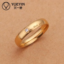 2015 NEW High Quality Gold Plated Fashion Simple Crystal Pure Love Ring for Lovers Women and