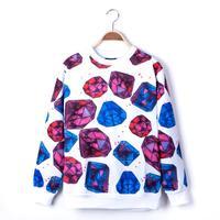 Men diamond pattern 3d neoprene structured round collar sweatshirt element pullover brand sweatshirts tops N10031