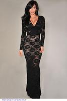 New Autumn clothing women winter vestido de festa Black Lace Long Gown Full sleeve Evening Dress LC6549 vestido longo