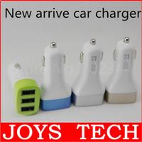 Fashion 3-Port Mini Universal Triple USB Port Car Charger Adapter 3.4A Socket blue silver gold green 4colors