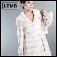 2014 White rex rabbit fur coat for women with white mink fur hood/long style overcoat/plus size/ OEM service