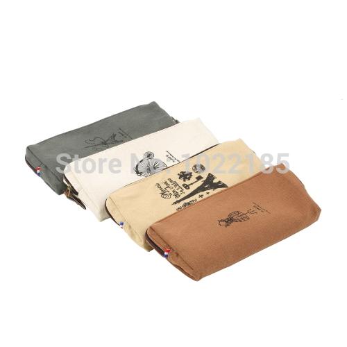 1pcs Retro and classic design practical tool Canvas Paris Pencil Pen Case pencil bag Makeup Coin Pouch Zipper Bag 4 patterns(China (Mainland))