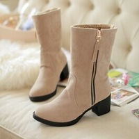 Free shipping winter style round toe flat flock fashion knee-high Zip boots women casual shoes sweet snow boots