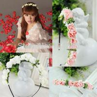 Wedding Bridal Pink/White Flower Garland Boho Floral Headband Headwear Garland Festival Women Hairband Free Shipping