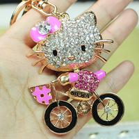 Retail and Wholesale Cute Ride Bike Cat KeyChain Crystal Charm Pendant Purse Bag Key chain Gift K05 Free Shipping Worldwide