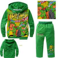 Retail 2014 NEW boys cartoon character long sleeve clothing sets kid's Teenage mutant ninja turtles design hooded clothing suits