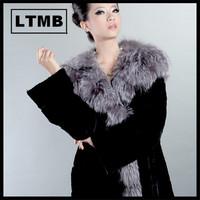 2015 luxury slap-up rex rabbit fur coat with silver fox fur collar for women/ plus size/ OEM service