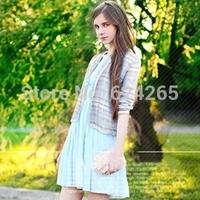2014 New Women Short Cardigan Full Length Striped Print All Match Casual European Style Cardigan Free Shipping