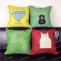 Simple IKEA Style Diamond Number 5 Guitar Vest Icon Cotton Linen Throw Cushion Cover Home Decor Sofa Pillow Case 45x45 cm