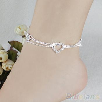 Новый шарм посеребренная бусины ножные браслеты для женщин лодыжке браслет цепи кристалл ...