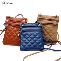 Double Zipper Small Pu Women Leather Bags Plaid Women Bag Mobile Phone Bag Ladies Shoulder Bags W2044