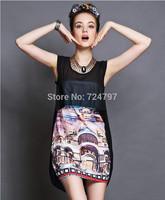 M32856 free shipping high degree new design 100% authentic  S--5XL lady summer chiffon dress 2014