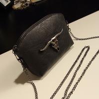 Fashion Women Bags Cow Skull Korean Women Small Bag Evening Bags Chain Pu Leather Handbag W2045