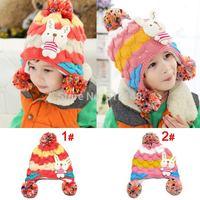 Retail Baby Girls Winter Hat Rabbit Design Children Crochet Caps Keep Warm Knitted Earflap Beanie for 3-8T