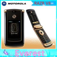 Original motorola unlocked mobile phone cell V8 Gold RAZR with 512 or 2GB internal memory luxury version Refurbished