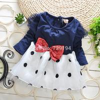 The fall of new long sleeved DOT BOW fluffy yarn  girl baby princess  dress wear free shipping
