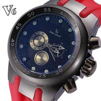 2014 NEW SPORT High Vogue V6 Strips Hour Marks Round Dial Quartz Watch Men Fashion Hours Silicone Wrist Watch