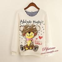 Happy Smile Bear Print Free Shipping Women's Warm Fleece Cotton Hoodies Designed Hoody Heart Sweatshirt A753