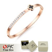 OPK Luxury Rose Gold Bangle For Women Fashion Four Leaf Clover AAA+ Cubic Zirconia Crystal Stainless Steel Bracelet Jewelry 736