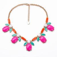 2014 Hot Pink Teardrop Pendant Choker Necklace Charm  Jewelry Wholesaler  Nickel & Lead Free Design Jewelry Min $20(can mix)
