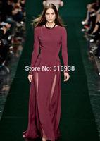 New 2014 autumn winter women sexy fashion patchwork chiffon long dress runway floor-length slim runway dresses burgundy blue