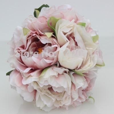 One Bouquet Cameo Pink Wedding Flower rose Peony Bride Bridesmaid Flower Girl Posy Wedding Decoration(China (Mainland))