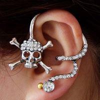 Mini Order $8.8(Mix Orders) Fashion Cool Crystal Rhinestone Skull Plated Alloy Earring FE0163