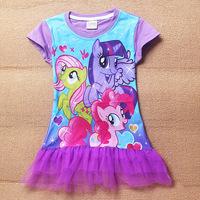 NEW My Little Pony Children Dress Short-Sleeve Children dress Cartoon Pony 5pcs/lot