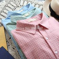 2014 New Women Long-sleeve  Casual Cotton Shirt  Female Blouse  blusas femininas Plaid Blouse