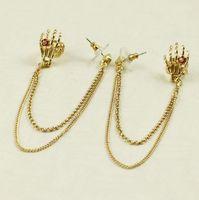 Mini Order $8.8(Mix Orders)  HOT Gold Skull Ghost Head Ladis Fashionable Chain Clip Earring FE0162