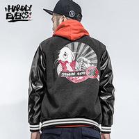 HARDLYEVERS Trend Harajuku Japanese stitching hit color printing jacket male baseball shirt
