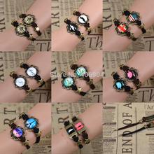 Wholesale 1Pair Couple bracelet Unique Gift Dailing Honey Eiffel Tower Elephant Clock Star Beads Bronze Suede Leather Bracelet