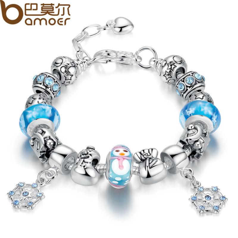 [해외]Bamoer 럭셔리 실버 매력 팔찌  ; /Bamoer Luxury Silver..