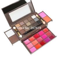 Free Shipping 34 Color Eyeshadow Palette Set 15 Eyeshadow + 15 Lip Gloss +2 Foundation powder+2 Blush Makeup Kit Cosmetics 2#