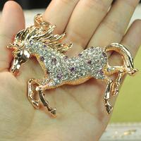 Retail and Wholesale New Rhinestone purple Horse KeyChain Crystal Charm Pendant Purse Bag Key chain 2 Free Shipping Worldwide