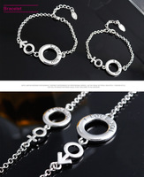 2014 Fashion 2 Pcs Sliver Bracelet Chain Lover I LOVE YOU Moon Stars Lobster Jewelry SP-SL-81452