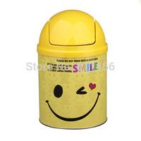 Fashion Cute Multifunction Metal Ashtray yellow Big Smile Face Columnar Ashtray-Yellow-C400397