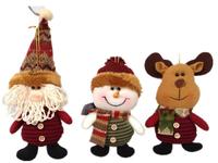 "Hot selling 3pcs/lot  Santa Claus Snowman Deer for Chrismas tree,christmas gift,7"" Indoor Christmas Decoration Supplies,SHB044"