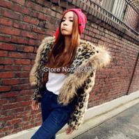 New winter faux fur big hood collar ovo leapard outcoat S/M/L/XL/XXL/XXXL free shipping
