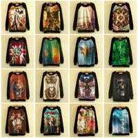 2014 Harajuku Fashion Women Print Pullover Galaxy Sweatshirts Car Skull Wolf Eagle Animal 3d Sweaters Hoodies Tops Blouse ST01