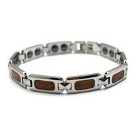 Free Shipping High Polish Tungsten Carbide Magnet Bracelet with Wood Inlay, Charm Bracelet For Men, Tu020B
