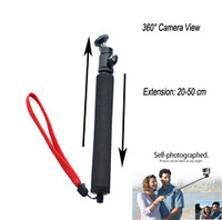 Extendable selfie stick + special adapter monopod for gopro hero 3/2/1,360 degree angle tripod pole handheld stick for go pro